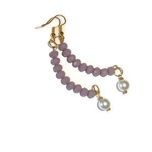 Old Rose color Crystal earrings Czech